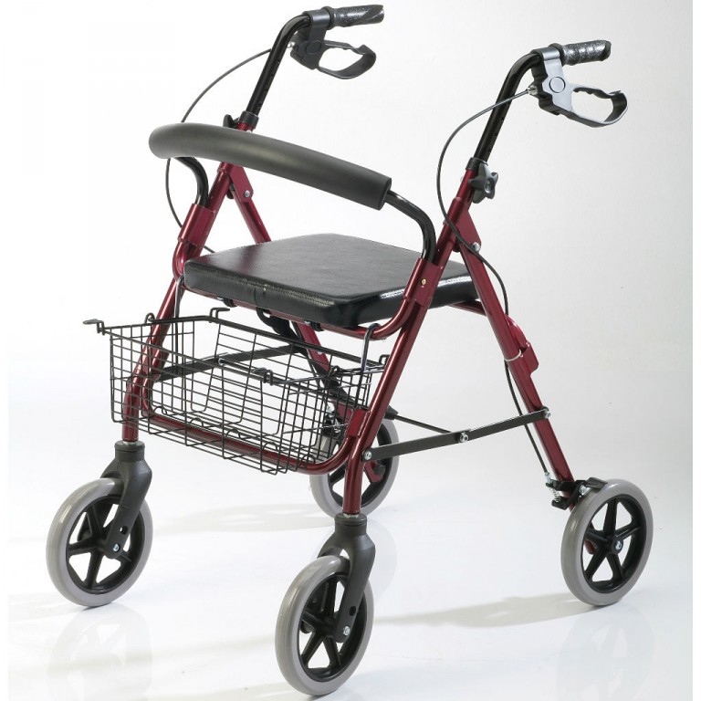 Andador plegable con asiento, canasto y frenos