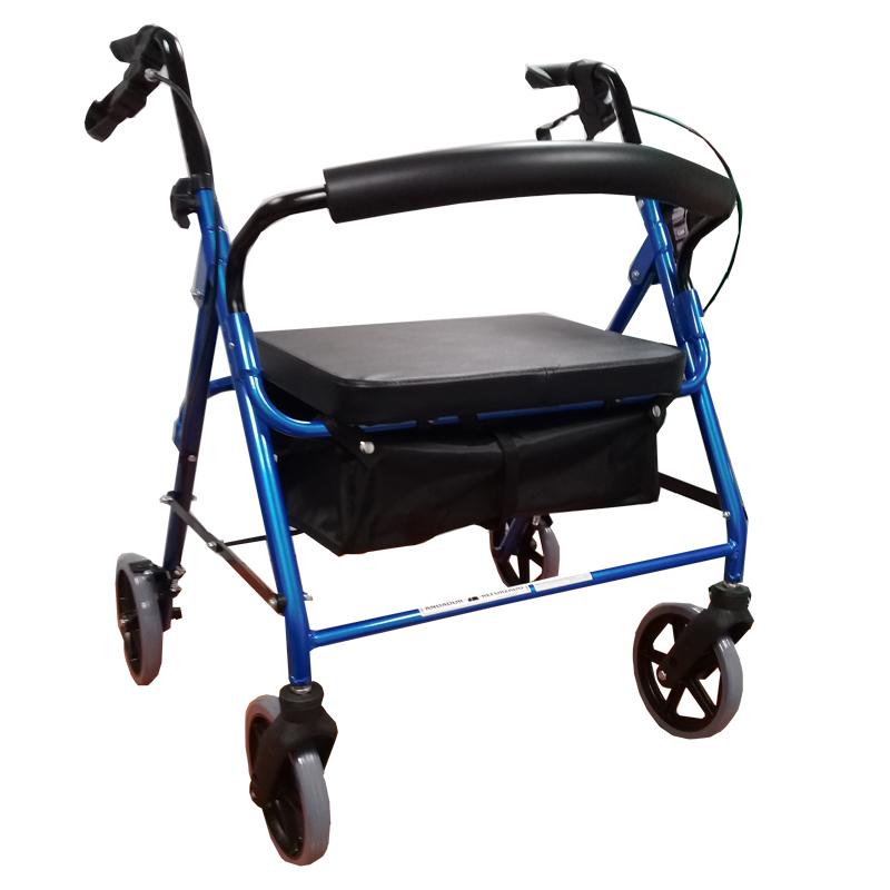 Andador plegable con asiento, bolso, ruedas y frenos